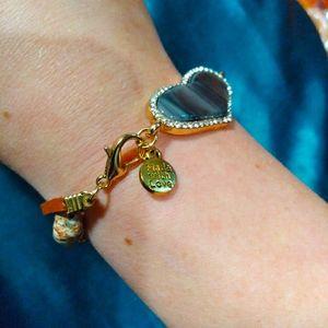 Stone heart multi strand bracelet